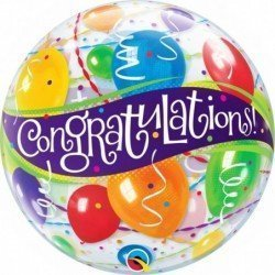 22 pulg. (55,8cm) Bubble Sencilla 01 Und. Congratulations Globos (BP)QL-27564 Qualatex