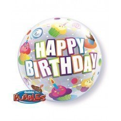 22 pulg. (55,8cm) Single Bubble 01Ct Bday Colorful Cupcakes (BP)QL-30799 Qualatex