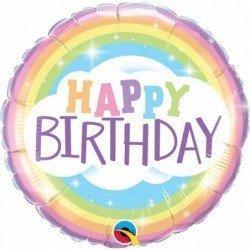 Globo Happy Birthday Arco iris Pastel de 45 cm Aprox.