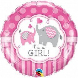 18 pulg. (45,7cm) Rnd 01Ct It'S A Girl Elephants (BP)