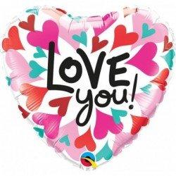 Globo Corazon de corazones I love You de 45 cm aprox