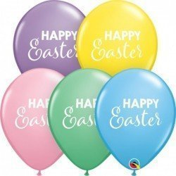 11 pulg. (27,9cm) Rnd Pastel Ast 25Ct Simply Happy Easter (BP)QL-11246 Qualatex