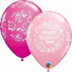 11 pulg. (27,9cm) Rnd Pink&Berry 25Ct Mother'S Day Floral Damask (BP)QL-12036 Qualatex