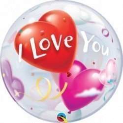 22 pulg. (55,8Cm) Bubble Sencilla 01 Und. I Love You Heart Balloons (BP)QL-16676 Qualatex
