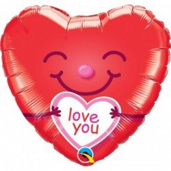 18 pulg. (45,7cm) Hrt 01Ct Love You Smiley Heart (BP)QL-21823 Qualatex