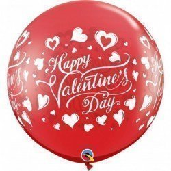 3Ft (91,4cm) Rnd Ruby Red 02Ct Valentine'S Classic Hearts (BP)QL-23183 Qualatex