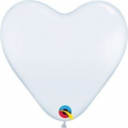 15 pulg. (38,1cm) Hrt White 50 Und. Plain Latex (BP)QL-24019 Qualatex