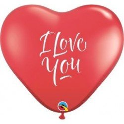 3Ft (91,4cm) Hrt Ruby Red 02Ct I Love You Script Modern (BP)QL-29509 Qualatex