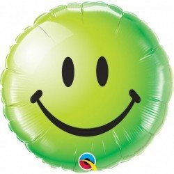 18 pulg. (45,7cm) Rnd 01Ct Smiley Face Green (BP)QL-29628 Qualatex