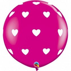 3Ft (91,4cm) Rnd Wild Berry 02Ct Big Hearts-A-Rnd (Wht) (BP)QL-31416 Qualatex
