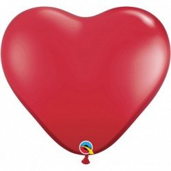 3Ft (91,44cm) Hrt Ruby Red 02 Und. Plain Latex (BP)QL-44487 Qualatex