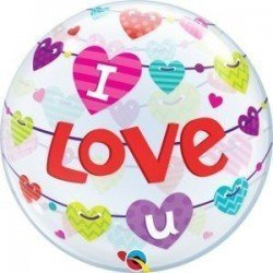 22 pulg. (55,8cm) Bubble Sencilla 01 Und. I Love U Banner Hearts (BP)QL-46047 Qualatex