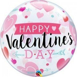 22 pulg. (55,8cm) Bubble Sencilla 01 Und. Valentine'S Arrows & Hearts (BP)QL-46048 Qualatex