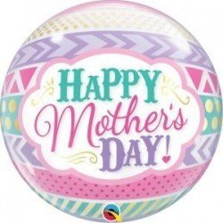 22 pulg. (55,8cm) Bubble Sencilla 01 Und. Mother'S Day Dots & Stripes (BP)QL-47636 Qualatex