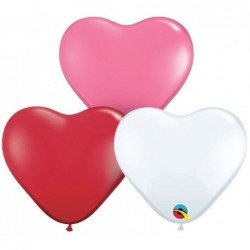 06 pulg. (15,2cm) Hrt Love Ast 100 Und. Plain Latex (BP)QL-47949 Qualatex