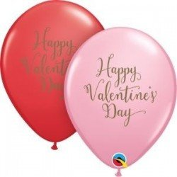 11 pulg. (27,9cm) Rnd Red&Pink 25Ct Happy Valentine'S Day Script (BP)QL-48203 Qualatex