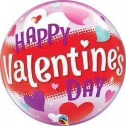 22 pulg. (55,8cm) Bubble Sencilla 01 Und. Happy Valentine'S Day Hearts (BP)QL-54603 Qualatex