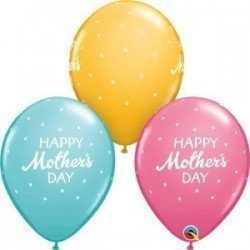 11 pulg. (27,9cm) Rnd Special Ast 25Ct Mother'S Day Petite Polka Dots (BP)QL-57182 Qualatex