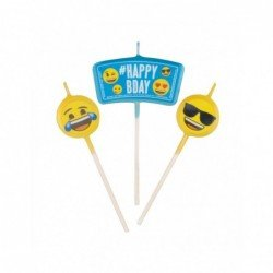 Mini velas Emoji Happy Birthday topper
