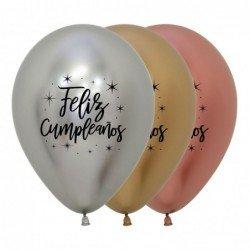 Globos Feliz cumpleaños Delux Reflex en Plata, oro y Rosa oro (12)