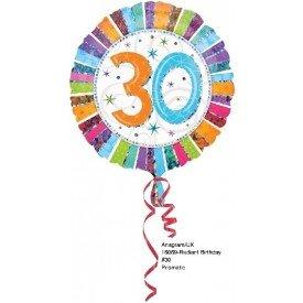 Globo Foil Feliz 30 Cumpleaños Radiante (Empaquetado)1606901 Amscan