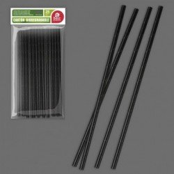 Cañas / Pajitas de cartón Eco Firendly color Negro de 197 x 6 mm (25ud)J-10669 JBP