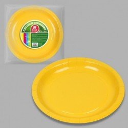 Platos Amarillos de Cartón Biodegradable Eco-Friendly de 20 cm (10)J-10632 JBP