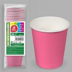 Vasos Rosa Fucsia de Cartón Biodegradable Eco-Friendly de 200 cc (24)J-10628 JBP