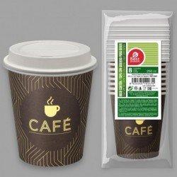 Vasos para Café Decorado colores y tapas con agujero de 250 cc (8)J-10267 JBP