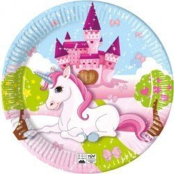 Platos Unicornio Castillo Eco biodegradables de 23 cm (8)