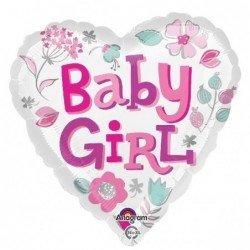Globo corazon Baby girl Flores de 45 cm aprox