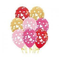 Globos Corazones colores rosa, fucsia, rojo y dorados (12)
