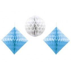 Faroles Nido de abeja con Rombo y esfera Azul y Blanco (3)