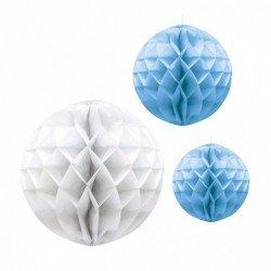 Faroles Nido de abeja esferas Azul y Blanco (3)