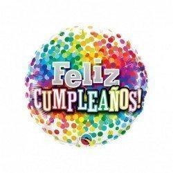 Globo Feliz cumpleaños confeti multicolor de 45 cm