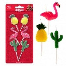 Velas Flamencos Piñas y Cactus (3x2)