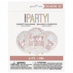 Globo Transparente Happy Birthday con confeti Rosa Dorado de 30 cm(6)