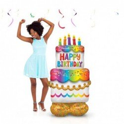 Globo Tarta Happy Birthday Airloonz de 134 x 68 cm aprox4244911 Anagram