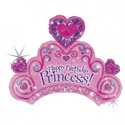 "Globo Corona ""Happy Birthday Princess"" de 86cm"