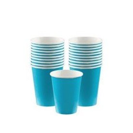 VASO 9oz 266 ml CARTON COLOR AZUL-CARIBE ( 8 ud)58015-54 Amscan