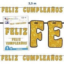 Guirnalda Feliz Cumpleaños dorada de 2,50m
