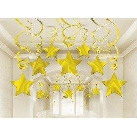 Decoracion Colgantes Espirales Estrella Color Dorado (30)674474-19 Amscan