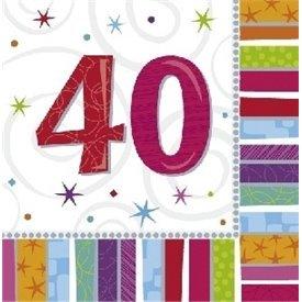 Servilletas (16) 33 cm 40 Cumpleaños Radiante991415 Amscan