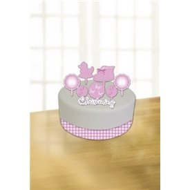 Pink (3)Booties Cake Decorating K Incl. Ribbon, Candle andCard Decoration997300 Amscan