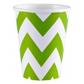 Vasos Chevron Verde Lima (8) 266 ml