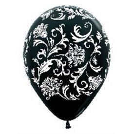 Globos Seri. Dis. Damasco De 30 cm aprox Colores Negro/Blanco Satin y Met /10 ud/