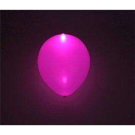 Globos de látex con Luz Led Color Rosa Solido de aprox. 25cm. (5 ud)1403004 Amscan