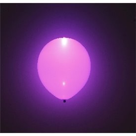 Globos de látex con Luz Led Color Morado Solido de aprox. 25cm. (5 ud)