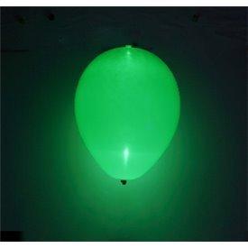 Globos de látex con Luz Led Color Verde Solido de aprox. 25cm. (5 ud)1403010 Amscan