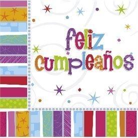 Servilletas (16) 33 cm Feliz Cumpleaños Radiante552298 Amscan